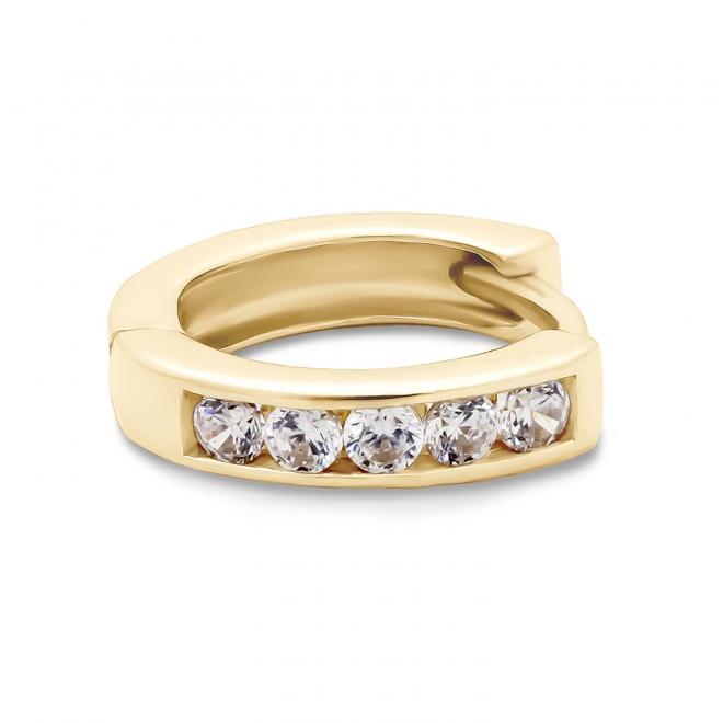 Gold CZ set Huggie Earring (By Piece)