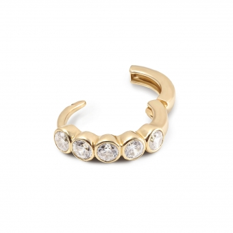 Gold CZ set round Huggie Earrings (By Piece)