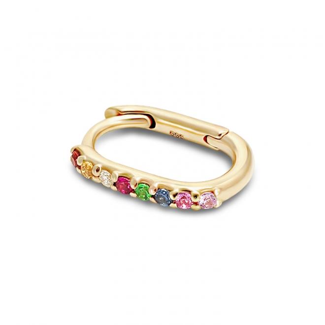 Gold Oval Multi-Stone Huggie Earrings (By Piece)