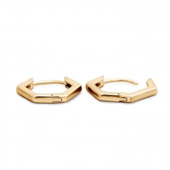 Pentagonal Gold Hoop Earrings