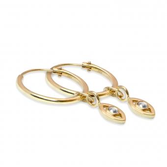 Gold Tube Hoop Earrings with Eye Charm