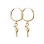 Gold Tube Earrings Diamond/Ruby Pistol Charm by Pair