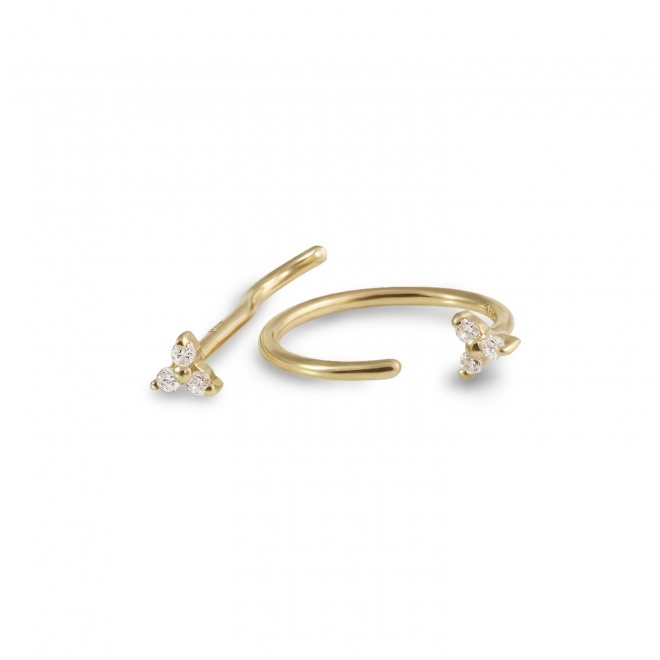Gold Circular Nose Hoop with 3 Diamonds