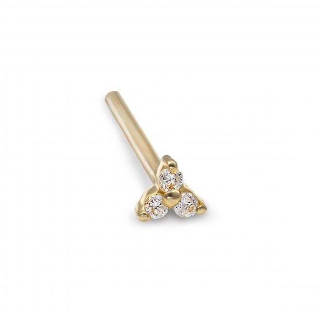 Gold 3 Diamonds Nose Stud