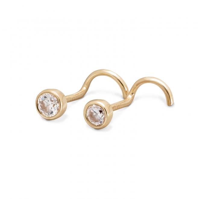 Gold Diamond Nose Stud 2.4mm Gemstone