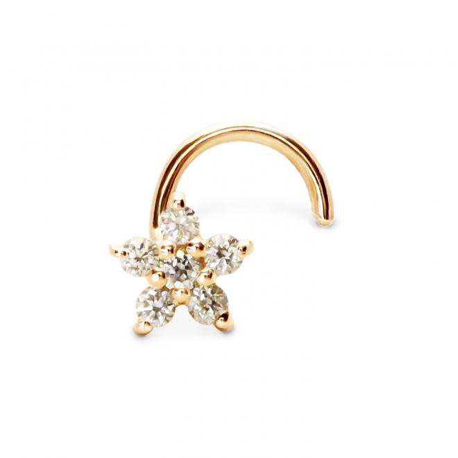 6 Diamonds Gold Flower Nose Stud