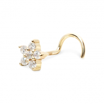 Star Shape Gold Nose Stud with 0.09ct x 5 Diamonds