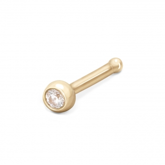 Gold Cup Setting Nose Stud 2.2mm Gemstone