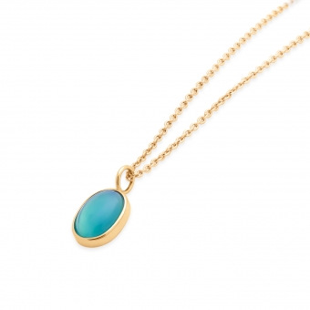 Gold Treated Opal 0.04ct Oval Shape Necklace