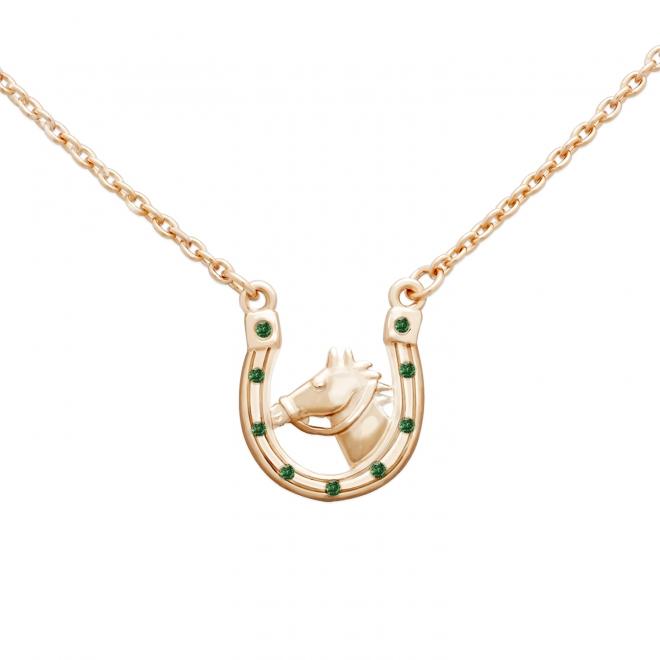 Gold Horse and Horseshoe Stone Necklace