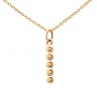 Gold Straight 5 Balls Necklace