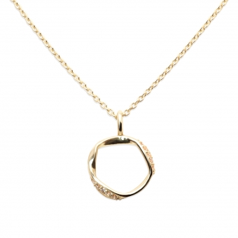 Round Gold Base Diamond Necklace