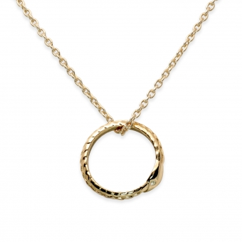 Diamond Eyes Oval Shaped Serpent Pendent