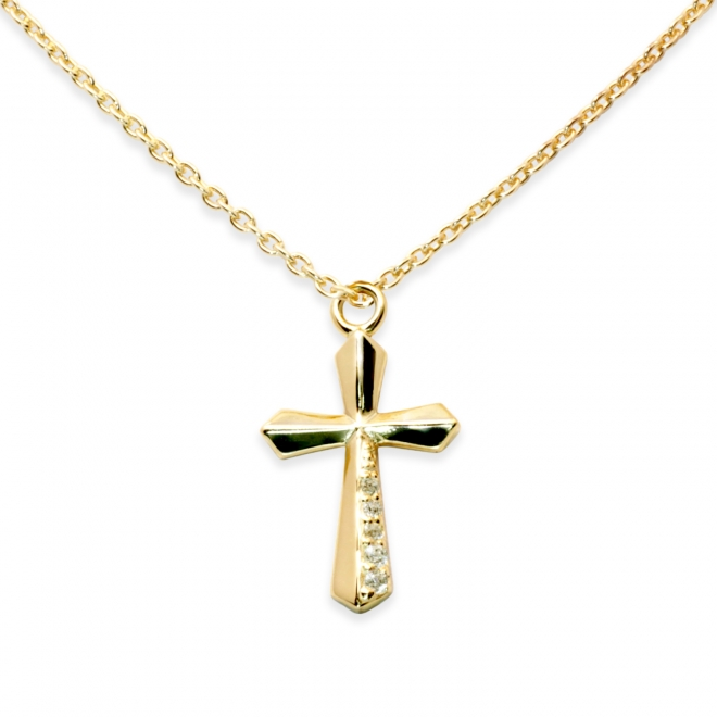 Religious Cross Shape with Diamonds Pendent