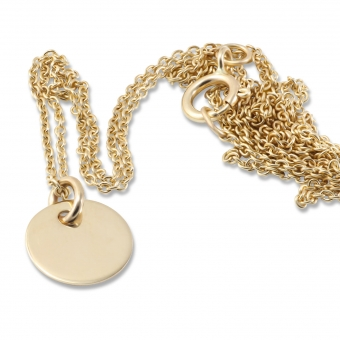 Gold 8mm Disk Necklace