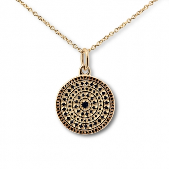 Gold 12mm Engraved Disk Necklace