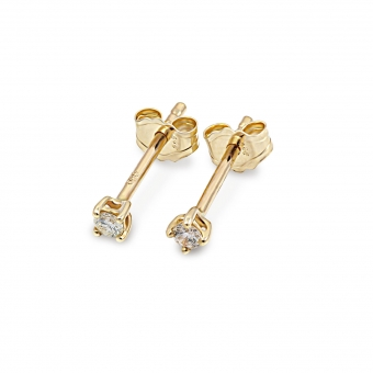 Classic Gold Stud Earrings with Gemstone