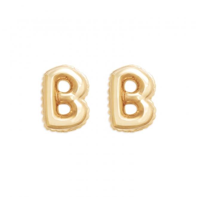 B Letter Balloon Stud Gold Earrings