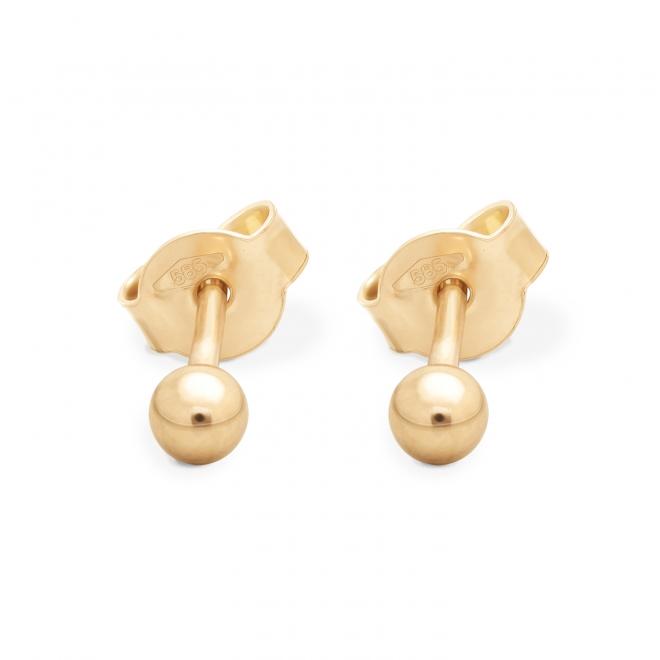 Plain Gold Ball 3mm Stud Earrings