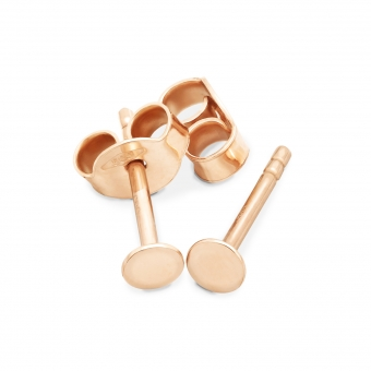 Gold Round Disk 3.3mm Stud Earrings