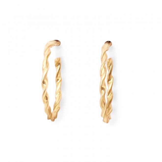 Solid Gold Twisted Hoop Stud Earrings