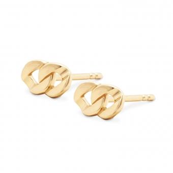 Gold Chain Link Stud Earrings