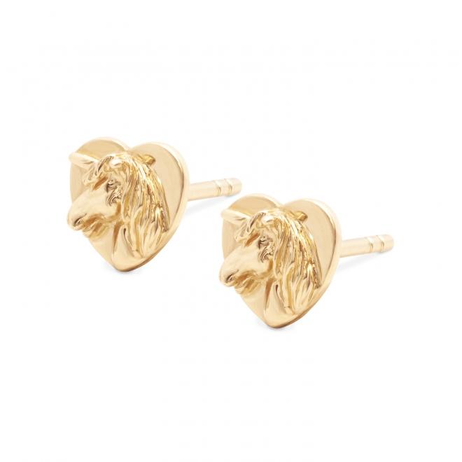 Gold Unicorn Head Stud Earrings