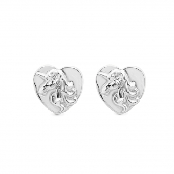 Embossed Unicorn Head Stud Earrings