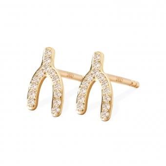 Gold 28 Gemstones Wishbone Stud Earrings