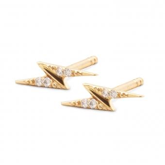 Golden 8 Gemstones Lightning Stud Earrings