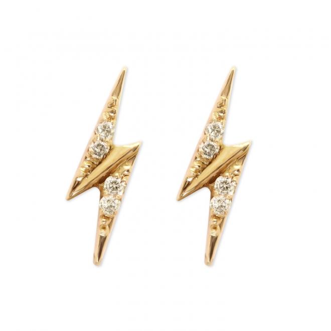 Golden 8 Diamonds Lightning Stud Earrings