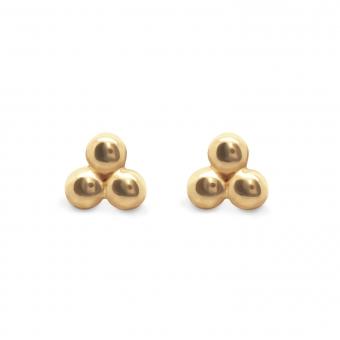 Trendy 3 Balls Gold Stud Earrings