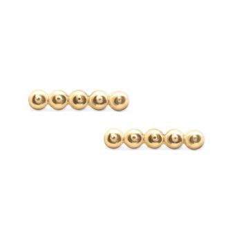 4 Gold Straight Balls Stud Earrings
