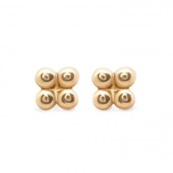 4 Gold Balls Squared Shape Stud Earrings