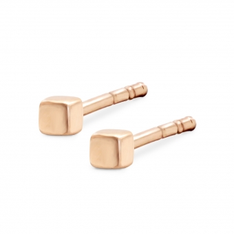 Perfect Cube Gold Stud Earrings