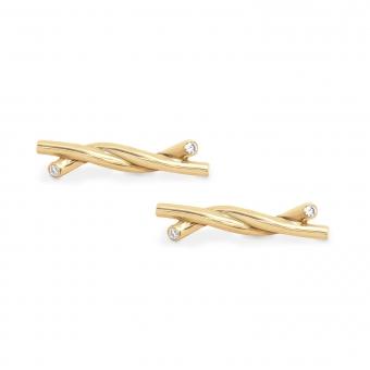 Solid Gold Knot Stud Earrings 1.3mm x 4 diamonds