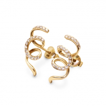 Twisted Spiral Shaped Ear Studs  Decorated With Diamond