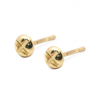 Gold Four-prong Nut Shaped Ear Studs