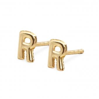 R Letter Balloon Stud Gold Earrings