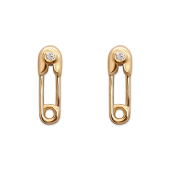 Safety Pin with Diamond Ear Studs