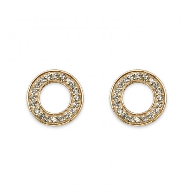 Circle Plant with x20 Diamonds Ear Studs