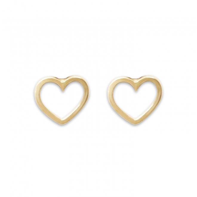 Gold Solid Delicate Heart Earstuds
