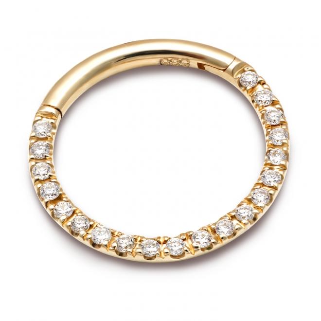 Solid Gold Side Diamonds Segment Earrings