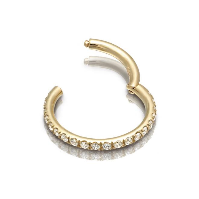 Gold Front Diamond Segment Earrings