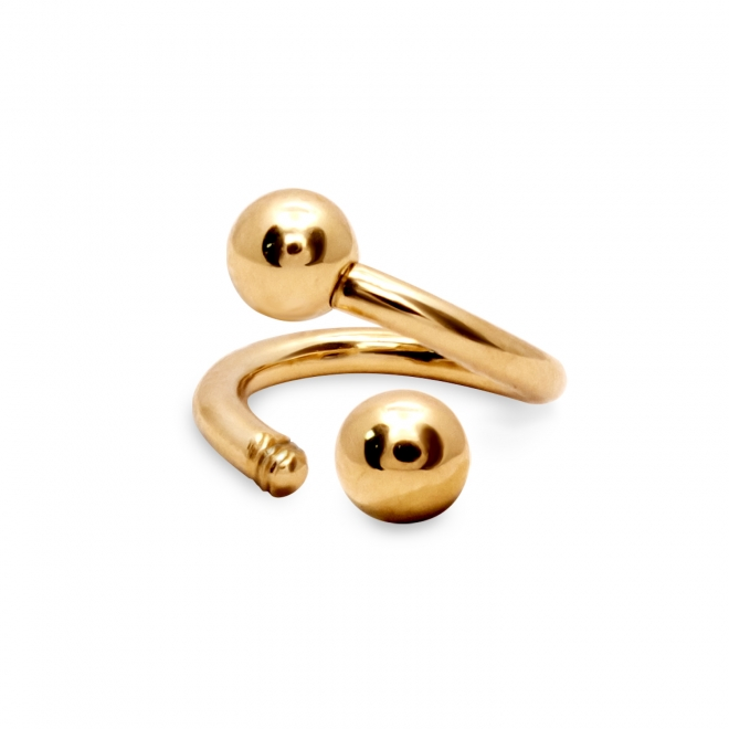 External Threading Spiral Bar With Two Solid Gold Balls